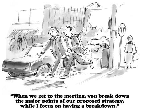 break: Business cartoon about a meeting break down. Stock Photo