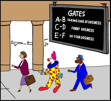 Business cartoon about air travel Stock Photo
