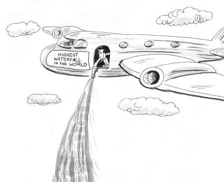 manmade: Cartoon about a high waterfall. Stock Photo