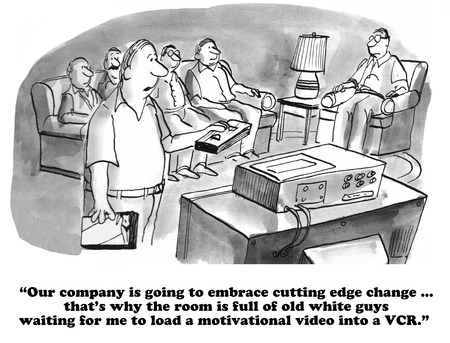 avoiding: Business cartoon about chauvinism and lack of change. Stock Photo