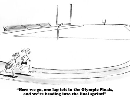 energized: Sports cartoon about the last lap in the race.