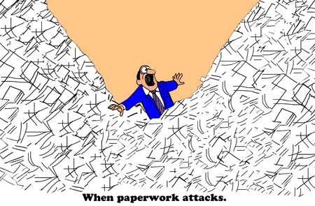 Business cartoon about paperwork overload.