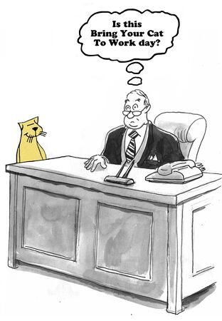 gag: Business cartoon about take pet to work day.