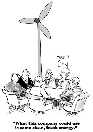 turnaround: Business cartoon about need new, fresh energy.