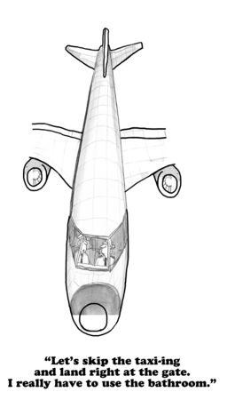 bathroom cartoon: Cartoon about a pilot who needs to go to the bathroom.