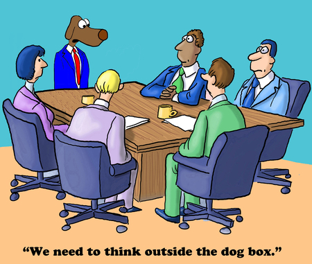 Business cartoon about thinking outside the box. Stock Photo
