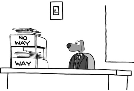 no way out: Business cartoon about accepting and rejecting requests.