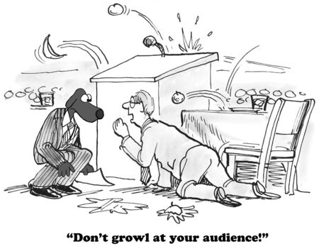 rotten: Business cartoon about an audience throwing rotten food at the speaker. Stock Photo