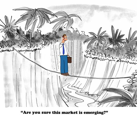 gag: Business cartoon about a market that is not emerging. Stock Photo