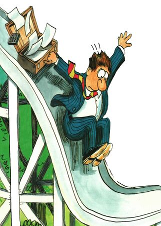 downsized: Business cartoon about a businessman quickly going down a slide.
