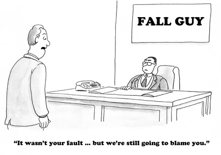 Business cartoon about being the fall guy.