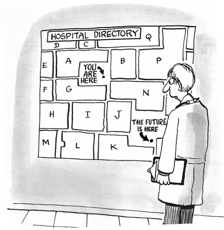 finding: Medical cartoon about finding the future.