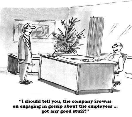 violate: Business cartoon about starting gossip.