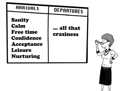 stopping: Business cartoon about stopping the craziness.