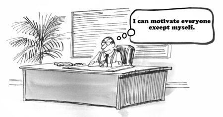motivated: Business cartoon about not being self motivated. Stock Photo