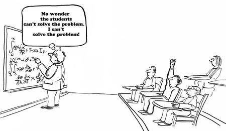 unsolvable: Education cartoon about an unsolvable math problem.