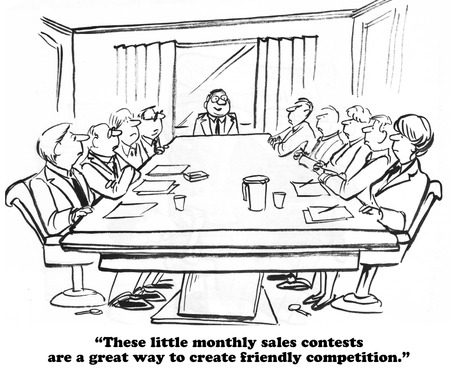 salespeople: Business cartoon about a sales contest.