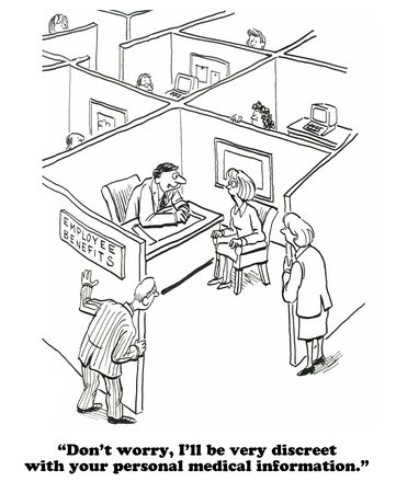 private information: Business cartoon about a lack of privacy in the open floor plans at work.