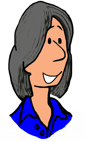 grey hair: Illustration of woman with gray hair.