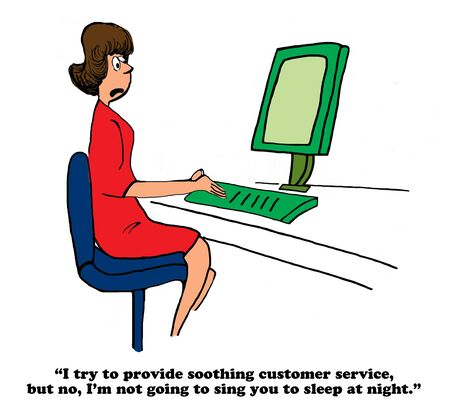 knowledgeable: Business cartoon about soothing customer service. Stock Photo