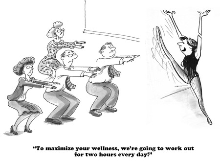 Business cartoon about exercising at work.