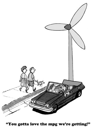 powered: Cartoon about a wind powered car. Stock Photo