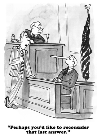 defendant: Legal cartoon about lying on the witness stand.