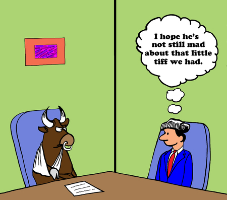 differing: Business cartoon about a little tiff.