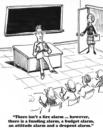 cause: Education cartoon about cause for alarm.