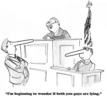 Legal cartoon about lying on the witness stand.