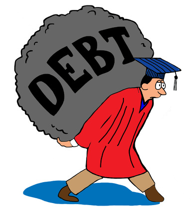 too: Education cartoon about too much student debt. Stock Photo