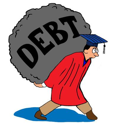 Formazione fumetto sul debito studente troppo. Archivio Fotografico - 57742261