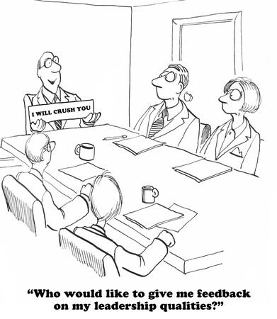 Affari del fumetto su un leader che non vuole feedback. Archivio Fotografico - 57706859