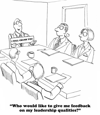 bad leadership: Business cartoon about a leader who does not want feedback. Stock Photo