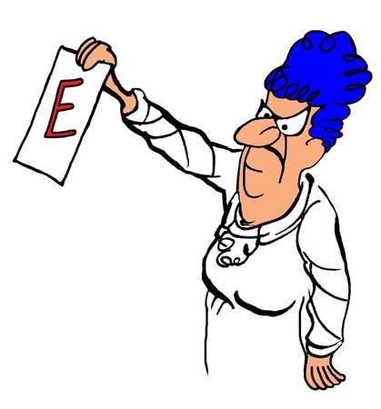gag: Education cartoon about teacher giving student an E.