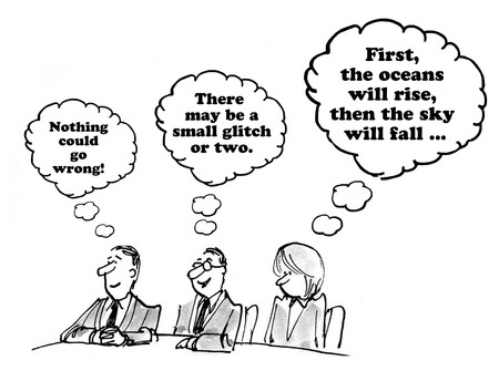 differing: Business cartoons about different reactions to a recommendation.