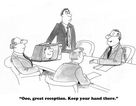 office manager: Business cartoon about videoconference. Stock Photo
