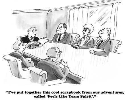 teammates: Business cartoon about a scrapbook for the team. Stock Photo