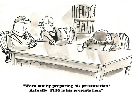 uninterested: Business cartoon about lazy presenter.