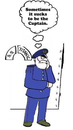 persuasive: Business cartoon on the difficulties of leadership. Stock Photo