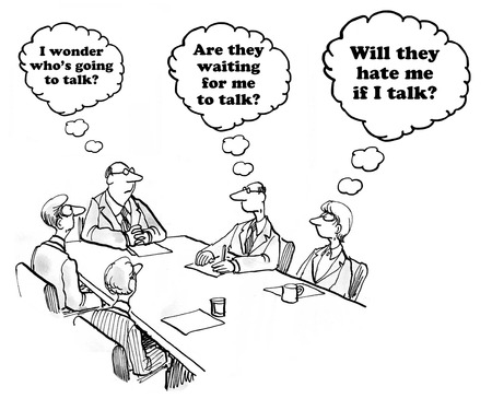 hesitate: Business cartoon about the hesitancy to speak in a meeting. Stock Photo
