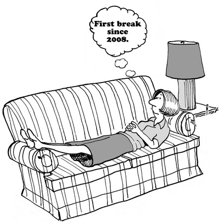 exhausted: Cartoon about exhausted woman.
