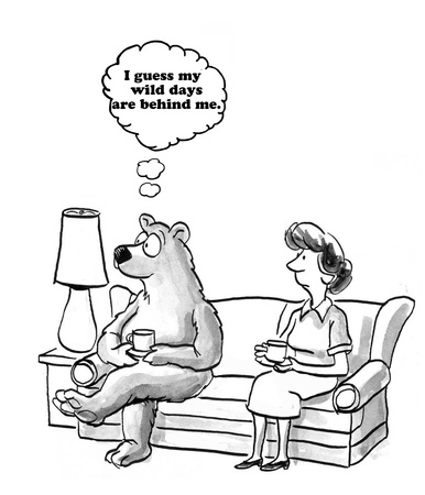 stopped: Cartoon about settling down.