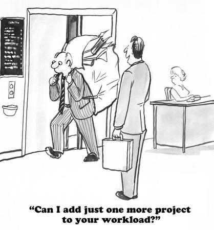 Business cartoon about an oblivious boss. Banque d'images