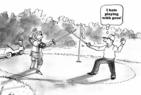pro: Sports cartoon about playing golf with a pro.