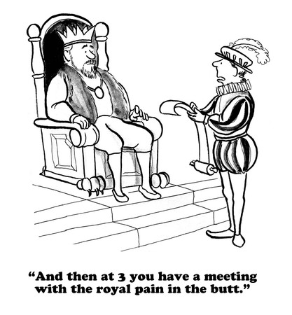 unfortunate: Business cartoon about upcoming difficult meeting.
