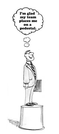 admire: Business cartoon about team putting manager on a pedestal. Stock Photo