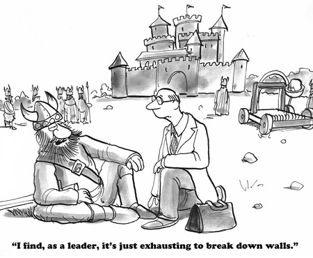 Business cartoon about breaking down walls. Stock Photo