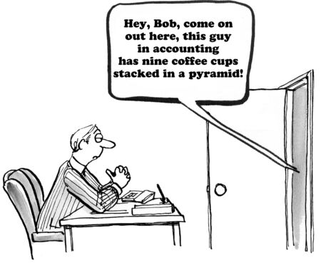 coworker: Business cartoon about teasing a coworker.