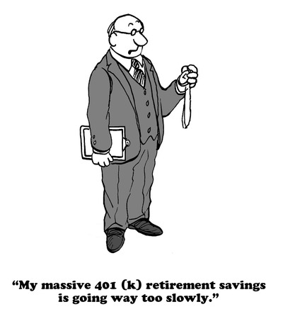 Cartoon about contributing to a 401(k).